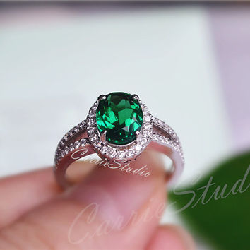 Gorgeous Oval Emerald Ring Emerald Engagement Ring/ Wedding Ring 925 Sterling Silver Ring Anniversary Ring Silver Gemstone Ring