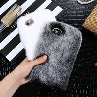 KISSCASE Rabbit Hair Phone Case For iPhone X 5s 5 6 Winter Rhinestone Fur Fluffy Cases For iPhone 8 7 6 6s Plus Accessories Capa