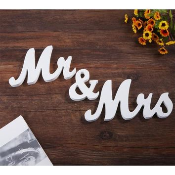Wooden Mr & Mrs Letters Sign Wedding Props Standing Top DIY Table Decoration