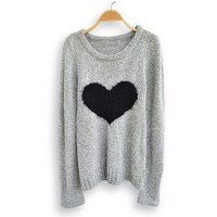 Love Heart Long Sleeve Sweater Gray