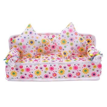 Baby Toys Mini Dollhouse Furniture Soft Sofa Couch With 2 Cushions Doll House Accessories