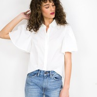 Ruffle Sleeve Button Up Blouse