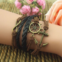 Nautical Anchor Karma Bracelet With Brown Strings