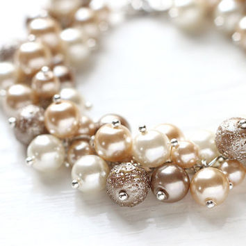 Bridesmaid Jewelry Pearl Cluster Bracelet - White Chocolate, Nude Color Cream Beige Fall Wedding