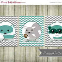 Nursery Wall Art Prints / fox print / 8x10 inch trio / set of three / teal and gray / woodland animals / for baby boy's room decor /