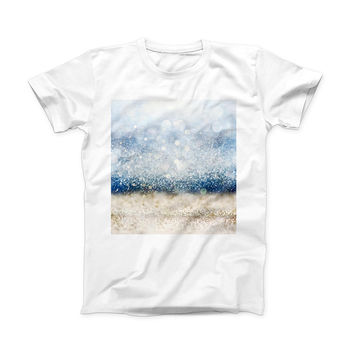The Unfocused Blue and Gold Sparkles ink-Fuzed Front Spot Graphic Unisex Soft-Fitted Tee Shirt
