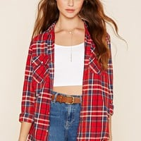 Snap-Button Tartan Plaid Shirt