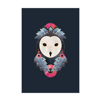 Owl Dark Background Adhesive Art Print