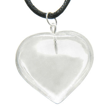 Brazilian Healing Crystal Puffy Heart Rock Quartz Gemstone Lucky Charm Pendant Necklace