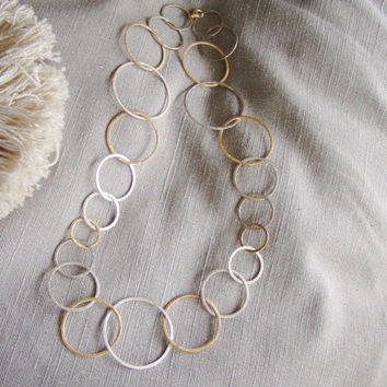 Silver and gold cycles minimal necklace, matte finish