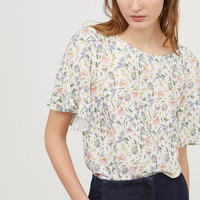 Trumpet-sleeve Blouse - White/multicolored - Ladies | H&M US