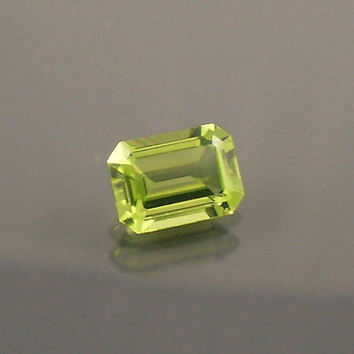 Peridot: 1.05ct Green Emerald Shape Gemstone, Natural Hand Made Faceted Gem, Loose Precious Mineral, OOAK Cut Crystal Jewelry Supply 20032