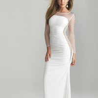White Beaded Sheer Long Sleeve Fitted Prom Gown - Unique Vintage - Prom dresses, retro dresses, retro swimsuits.