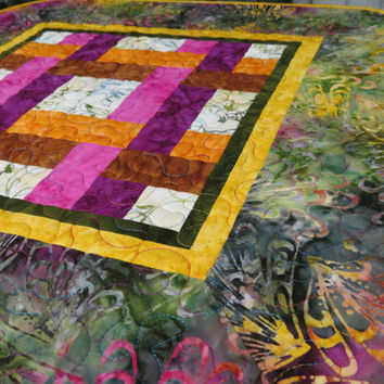 Table Topper Quilted Tonga Fig Batik Yellow 618