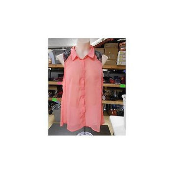 Derek Heart Juniors Sleeveless Button Down Hi Lo Blouse, Coral, Large