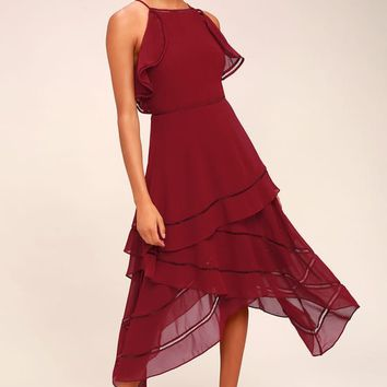 Keepsake Lovers Holiday Wine Red Midi Dress