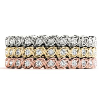Stackables 3/4 Eternity Tri-Tone Gold Vertical Lean Marquise Bezel 3-Band Set