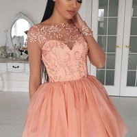 A-Line Short Appliques Chiffon Homecoming Dress