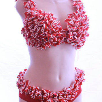 Candy Cane Sequin Burlesque Lingerie set Bra and Panties - 3 Piece Set - Candyland - Electric Daisy Carnival EDC Rave