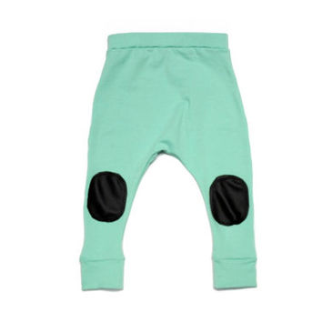 Aqua baby leggings or harems with pleather knee patches