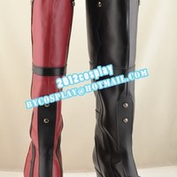 Bartman Arkham Asylum Harley Quinn Cosplay Thigh High Boots Custom-Made