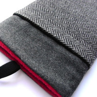ipad mini case / Gray wool sleeve / front pocket /