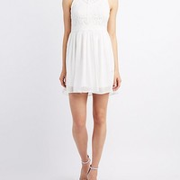 Lace Bodice Skater Dress