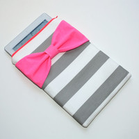 Neon iPad Case / Android Tablet Sleeve - Gray and White Stripes with Dayglo Pink Bow and Back Zipper Pocket - Padded