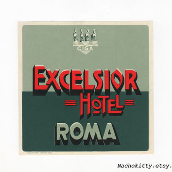 1940s Steamer Trunk Travel Label Excelsior Hotel Roma, Luggage Sticker