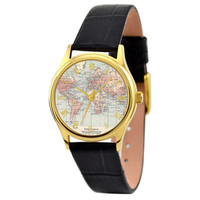 Ladies Map Watch (World ) with roman gold case