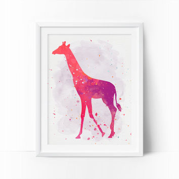 Giraffe Art, Watercolor Giraffe, Nursery Giraffe, Printable Art, Rose, Coral Prints, Girls Room Decor, Baby Girl Nursery, Kids Wall Decor