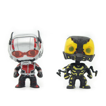 Chanycore Funko Pop Bobble Head Figure Marvel The Avengers Ant-Man Red Yellow Jacket 2Color 10Cm Pvc Vinyl Figure Toy