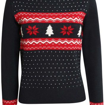 Gina Slim Fit Festive Knitted Christmas Jumper in Navy Blue