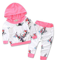 Hot Pink Reindeer Top Christmas X-Mas Hoodie Suit Kids Baby Reindeer Print Pants