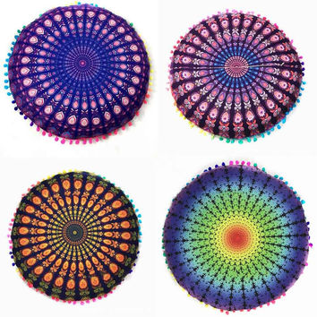 Round Bohemian Mandala Floor Pillows Cushion Cover, 4 Styles