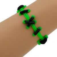 Frankenstein Green and Black Stitch Bracelet FX Wristband Metal