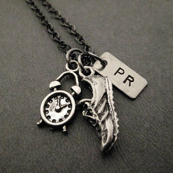 Time To Run a PR - Runner's Personal Record Necklace - Hand Hammered Nickel Silver PR Charm, Pewter Shoe and Clock Charms on Gunmetal Chain