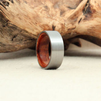 Size 8.75 - Titanium Lined with Arizona Desert Ironwood Burl Wooden Ring Titanium Ring
