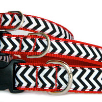 Chevron dog collar black red or denim navy chevron pet collar  small dog large dog Dog leash dog harness are available