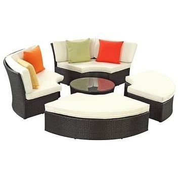 2016 Best Selling 6 Piece Outdoor Rattan Furniture Patio Daybed Set