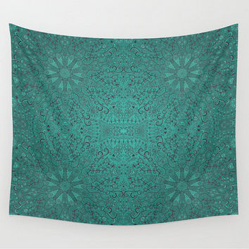 Wall Tapestry Emerlad Green Mandalas and Designs Folk Art Teal Pattern Design Aquamarine Boho Bohemian Dorm Room Home Decor