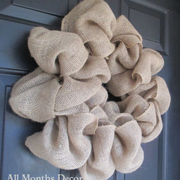 Simple Natural Burlap Wreath, Rustic, Country, Spring, Easter, Summer Fall Winter, Year Round, Door Porch