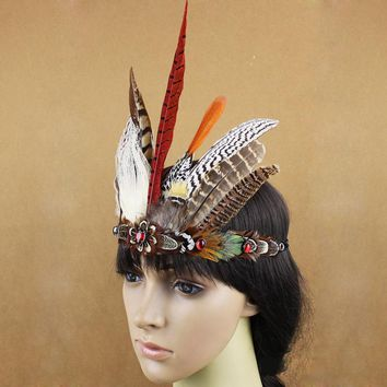 1d1769e8d44 Free Shipping New Indian Tribal Chiefs Feather Headdress Hair Ac