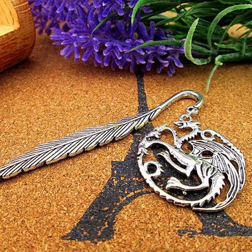 Antique Silver  Lovely Targaryen's Dragon Bookmark