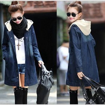 PEAPUG3 New Winter slim berber fleece liner slim drawstring waist hooded denim wadded jacket thickening outerwear female