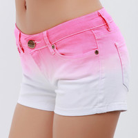 Gradient Color Denim Shorts/Pink