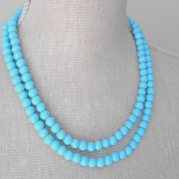 Pearl necklace: Two strand turquoise glass pearls, handmade fashion jewelry great for teacher, mom, mother,girlfriend gift, Christmas ideas