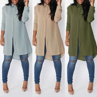 Womens Long Sleeve Shirt Casual Blouse Loose Cotton Top