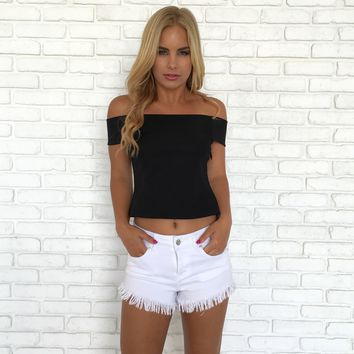 Kona Nylon Off Shoulder Top In Black