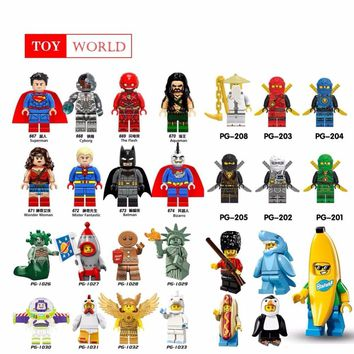 For Singel Super Heroes Ninja Banana Man Penguin people Batman Catwoman Death Knight Legoingly Building Blocks Toys Figures GH22